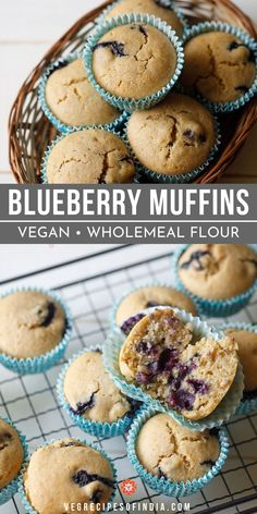 Healthy Blueberry Muffins with Whole Wheat Flour & oil (Eggless, Vegan) Muffin Recipes, Cupcake Recipes, Baking Recipes, Cupcake Cakes, Dessert Recipes, Cupcakes, Whole Wheat Blueberry Muffins, Blue Berry Muffins, Eggless Baking