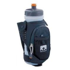 """Nathan Quickdraw Elite Handheld Bottle Carrier (Black, 22-Ounce) by Nathan. $23.29. Designed for ultra-runners, the Nathan Water Bottles QuickDraw Elite Water Bottle is designed to be a more technical handheld. The unique moisture-wicking hand strap eliminates the need to """"hold"""" the bottle and it will never loosen, no matter how many miles you log."""