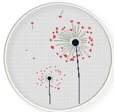 INSTANT DOWNLOAD,Free shipping,Cross stitch pattern, PDF,heart dandelion,ZXXC0276. $4.50, via Etsy.
