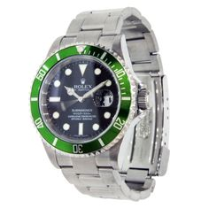 Rolex made a green Submariner known as the 50th Anniversary Special. 40mm stainless steel case, green time lapse bezel, black dial, and Oyster Fliplock bracelet. NOW FOR RENT AT VYRENT.COM