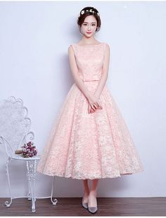 Vintage Inspired Style Tea Length Evening Dress