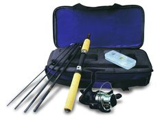 Fishing Gift Ideas for Dad! — Kathln. The Okuma Voyager Spinning Travel Kit comes with a 6 inch rod and 20 size reels. It features a 5 piece composite blank, stainless steel hooded reel seats, machine cut brass pinion gear and very durable ceramic guide inserts.