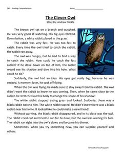 This Reading Comprehension Worksheet - The Clever Owl is for teaching reading comprehension. Use this reading comprehension story to teach reading comprehension. Reading Comprehension Activities, Reading Worksheets, Reading Fluency, Reading Passages, Reading Strategies, Reading Skills, Comprehension Strategies, Reading Response, Reading Intervention