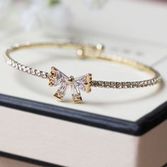 Look at My Bow Bracelet with Crystal - Gold Bow Bracelet, Bracelets, Ted Baker, Girly, Wedding Rings, Bows, Jewels, Engagement Rings, Crystals