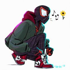 Sunflower Miles Morales Into the Spider-Verse Marvel Art, Marvel Avengers, All Spiderman, Miles Morales Spiderman, Character Art, Character Design, Spider Gwen, Black Spider, Arte Sketchbook