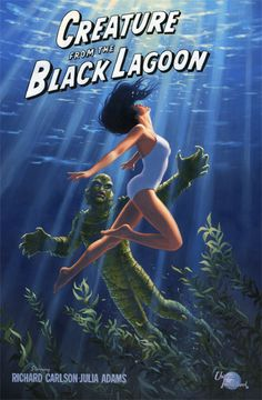 The Creature from the Black Lagoon , Greg Hildebrandt. Disney Movie Posters, Best Movie Posters, Classic Movie Posters, Classic Horror Movies, Horror Movie Posters, Original Movie Posters, Movie Poster Art, Scary Movies, Old Movies