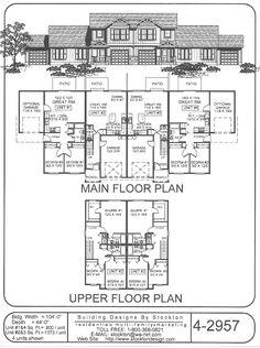Apartment Building House Plans 4-plexskinny units | apartment/house plan ideas | pinterest