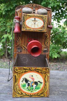 TELEPHONE~Vintage Cowboy Toy Phone
