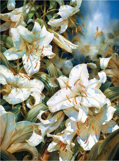 Casablanca Lilies, watercolor, by Darryl Trott Oil Painting Frames, Diy Painting, Watercolor Flowers, Watercolor Paintings, Watercolours, Painting Flowers, Cheap Paintings, Arte Floral, Australian Artists