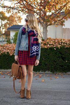 mixed prints fall outfit