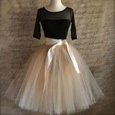 Champagne tulle  tutu skirt with ivory satin waist for  women. Custom length unlined.. $135.00, via Etsy.
