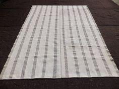 "Grey Stripe White Kilim Rug,6,8""x9,2"" Feet 204x280 Cm Vintage Home Floor Decor Turkish Kilim rug,Grey And White Kilim rug."