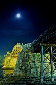 Wooden framework of Kintai Bridge, Iwakuni, Yamaguchi, Japan