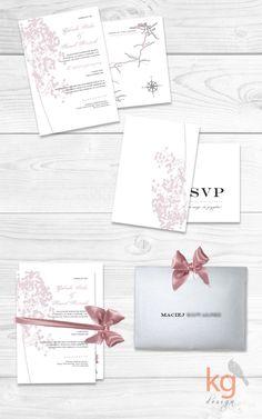 oryginalne, wyjątkowe zaproszenie na ślub, motyw przewodni gipsówka, pudrowy róż, winietki, dodatki na wesele, zawieszka na alkohol, etykiet...
