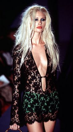 Kirsty Hume in emerald and lace Gucci - 1996.