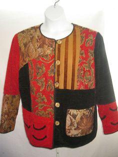 Sz 2X 22 24W Indigo Moon Jacket Patchwork Applique Arty Red Black Gold Gorgeous