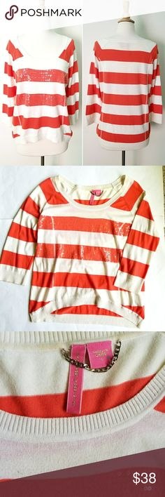 """Anthropologie Sequin Striped Sweater From Charlotte. Off White and orange stripes with sequin detail front. 3/4 sleeves, slightly Hi-Lo fit.   20"""" across chest,  24"""" long shoulder to bottom hem.   In excellent condition. Anthropologie Sweaters Crew & Scoop Necks"""