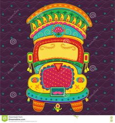 Illustration about Vector design of truck of India in Indian art style. Illustration of cultural, transportation, drive - 75380634 Truck Art Pakistan, Pakistan Art, Rajasthani Painting, Rajasthani Art, Vector Design, Vector Art, Zentangle, Indian Illustration, Car Illustration