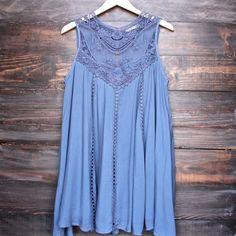 blue boho crochet lace dress