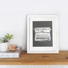 Vintage Royal Typewriter Art Print in Dark Grey by ClassicByNature