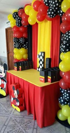 birthday ideas birthday ideas in 2020 Mickey Mouse Theme Party, Mickey Mouse Birthday Decorations, Mickey 1st Birthdays, Fiesta Mickey Mouse, Mickey Mouse First Birthday, Mickey Mouse Baby Shower, Mickey Mouse Clubhouse Birthday Party, Elmo Party, Dinosaur Party
