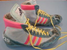 Adidas Combat Speed Original Wrestling Shoes Teal, Yellow, Pink Size 10.5