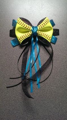 Softball Hair Ponytail BOW by on Etsy Softball Hair Bows, Girls Softball, Cheer Bows, Softball Stuff, Softball Wreath, Softball Gear, Softball Party, Softball Equipment, Volleyball Drills