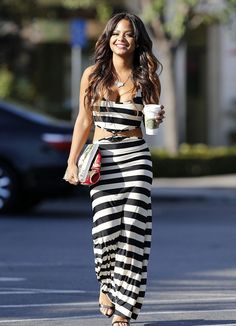 Christina Milian was spotted in Beverly Hills, sporting a $36 Go Jane Knotted Stripe Cutout Maxi Dress: