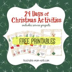 Christmas: Free 24 Days of Christmas Activities Printables (including service projects)