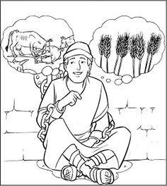 Kleurplaat: Jozef en de dromen van Farao