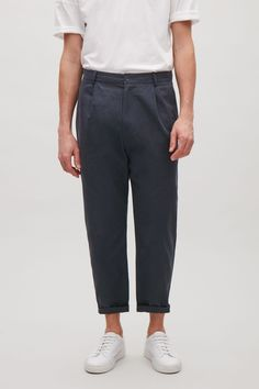 COS image 8 of Relaxed chino trousers in Indigo