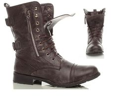 SPECIAL SALE OFFER LADIES WOMENS BNIB DOUBLE ZIP BROWN ARMY MILITARY WORK BOOTS