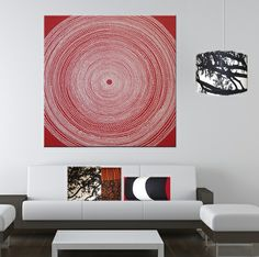 Marimekko 'Fokus' fabric wall art in red and white 120x120x4cm