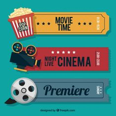 Retro cine tickets with audiovisual elements and popcorn Premium Vector Cinema Party, Cinema Ticket, Series Poster, Kino Box, Jean Renoir, Retro, Movie Night Party, Inspired Learning, Home Theatre