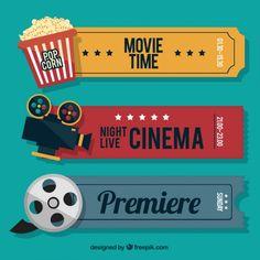 Entradas de cine retro con elementos audiovisuales y palomitas Vector Gratis