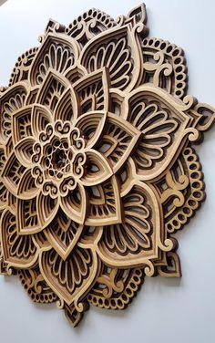 Wood mandala wall art Housewarming Gift for Her for him Carved Wood Wall Art, Art Carved, Metal Wall Art, Wood Art, Wall Wood, Painted Wood, Yoga Studio Design, Laser Art, Deco Boheme