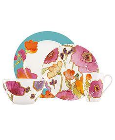 Lenox Dinnerware, Floral Fusion Aqua Collection - Casual Dinnerware - Dining & Entertaining - Macy's