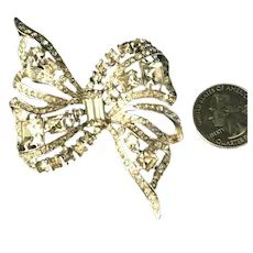 Eisenberg Sterling Silver Vintage Rhinestone Inset Figural Bow or Ribbon Brooch