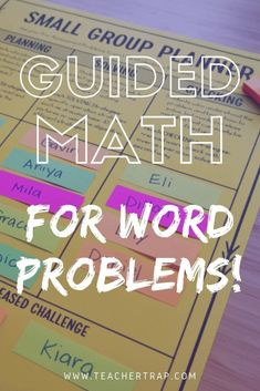 My simple system for using guided math to teach math word problems! Get the free Small Group Planner and learn how to create targeted small groups that will help you teach the word problem strategies students need most. Guided Math Groups, Math Coach, Math Talk, Math Words, Math Intervention, Math Word Problems, Teaching Math, Maths, Teaching Ideas