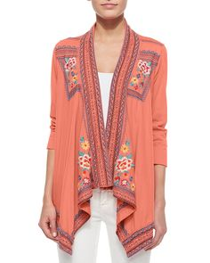 3/4-Sleeve Embroidered Trapeze Jacket, Women's