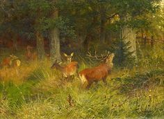 Christian Kröner (1838-1911) - Red deer in a forest