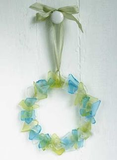 crafts made from glass   Or a sweet sea glass wreath. Source to tutorial unfortunately no ...
