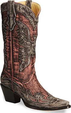 Corral Women's Genuine Leather Boots Charcoal/Pink/Black Eagle R2380 Size 7 #CorralBoots #CowboyWestern