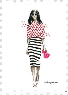 Burberry Prorsum Spring 2014 #aleksandrastanglewicz #fashionillustration #illustration #catwalk #spring2014 #dots #burberryprorsum