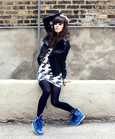 Guess? Leather Jacket, American Apparel Triangle Pattern Dress, Tights, Palladium Baggy Lite Boots, Http://Www.Jaglever.Com - PALLADIUM - Ra...