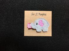 Little Girl Elephant with Heart Ear Feltie Hair Clip