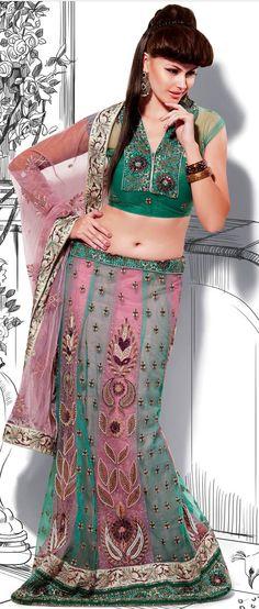 Cholorous #Green Net #Lehenga #Style #Saree with Blouse