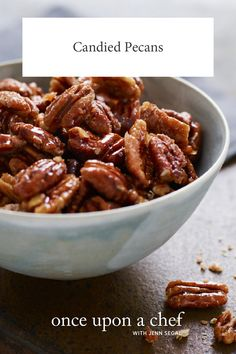 "Sweet, Spicy, Salty Candied Pecans (AKA ""Crack Nuts"") - Wildly addictive, these candied pecans are perfect to serve with cocktails or toss over salads. And they take just 15 minutes to make! Pecan Recipes, Chef Recipes, Appetizer Recipes, Snack Recipes, Cooking Recipes, Yummy Appetizers, Yummy Recipes, Recipies, Dessert Recipes"