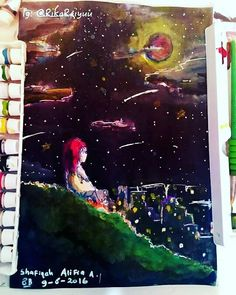 Beginner at painting... #girl #art #animeart #anime #moon #fotography