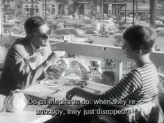 Men's style in movie 'À bout de souffle' Famous Movie Quotes, Tv Show Quotes, Film Quotes, Jean Seberg, Muse Quotes, Movie Captions, Great Quotes, Inspirational Quotes, How To Disappear